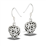 Sterling Silver Classic Filigree Heart Dangle Earring