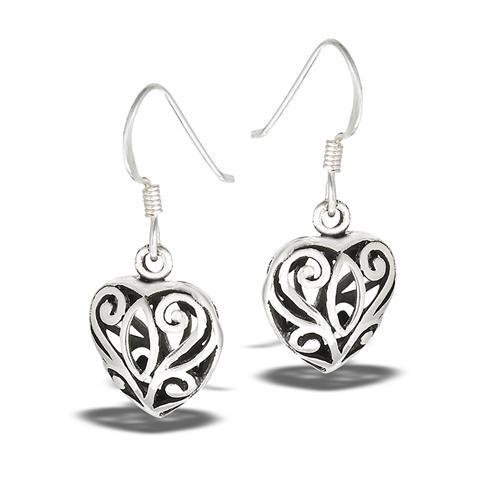 Silver Filigree Heart Dangle Earrings