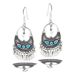 Sterling Silver Bali Style Dangling Earring With Synthetic Turquoise