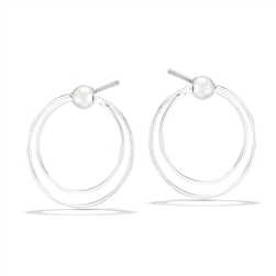 Sterling Silver Moveable Dangling Double Hoop Post Earring