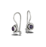 Sterling Silver Bali Style Locking Hook Earring With Synthetic Amethyst
