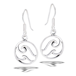 Sterling Silver Double Wave Dangle Earring