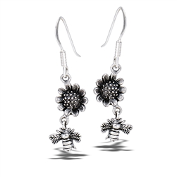 Sterling Silver Bumblebee Hovering Near Sunflower Earring