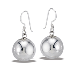 Sterling Silver 16 mm High Polish Dangle Ball Earring