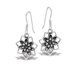 Sterling Silver Dangle Lotus Earring