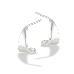 Sterling Silver High Polish Half Hoop Earring