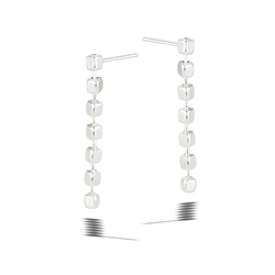 Sterling Silver Dangling Cubes Post Earring
