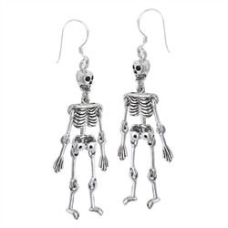 Sterling Silver Small Skeleton With Moving Limbs Earring